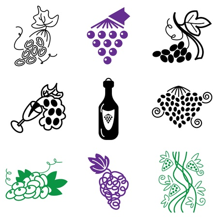grapes icons vector set  Stock Vector - 13406482