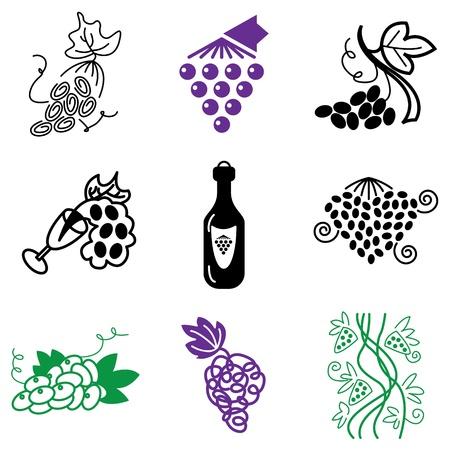 black grape: grapes icons vector set