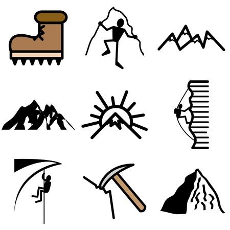 air hammer: mountain icons vector set