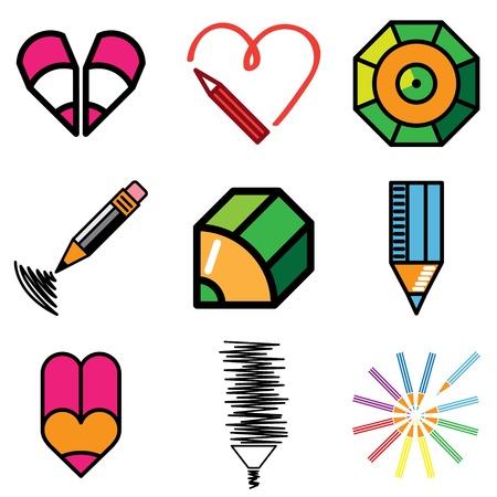 architecture pictogram: pencil icons vector set