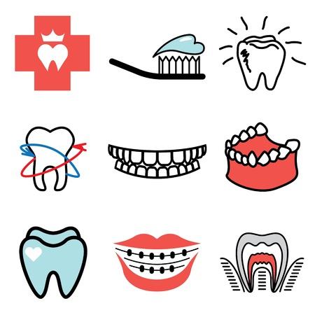 diente caries: Estomatolog�a iconos conjunto de vectores Vectores