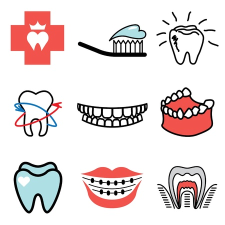 lips smile: stomatology icons vector set