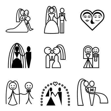 newlyweds: wedding icons vector set  Illustration