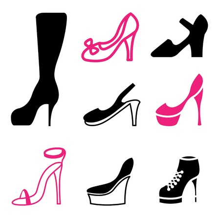 women s shoes icons vector set  Vector