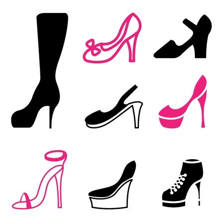 women s shoes icons vector set  Vector