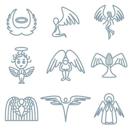 baby angel: angel and charity icons vector set   Illustration