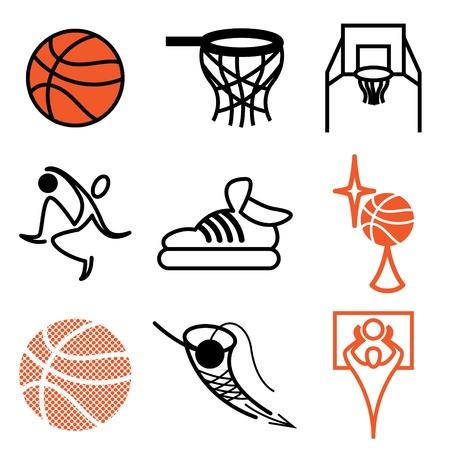 basketball sports icons vector set