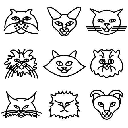 lynx: cat faces icons vector set  Illustration