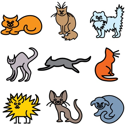 lop: cat silhouette icons vector set  Illustration