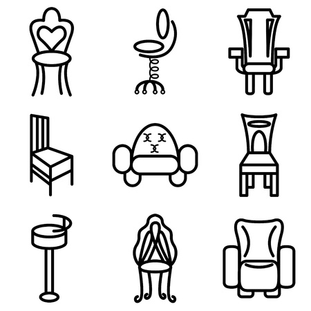 chair wooden: chair and furniture icons vector set