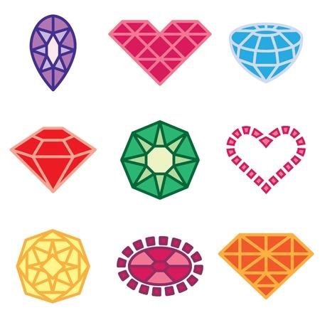 귀한: 보석과 다이아몬드 아이콘 벡터 설정
