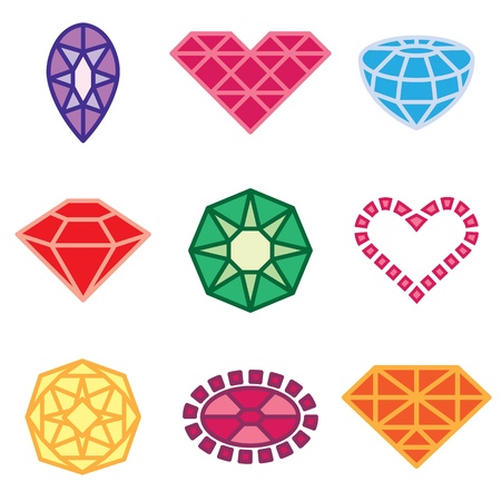 ruby gemstone: jewels and diamonds icons vector set