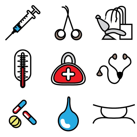 syringe injection: medical tools icons vector set