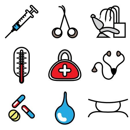 injectie: medische hulpmiddelen iconen vector set
