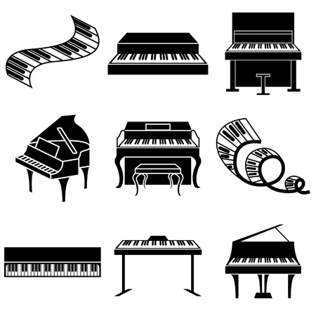 pianista: pianoforte e tasti vector icone set