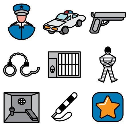 convicted: police and jail icons vector set  Illustration