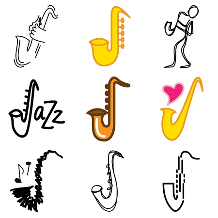 saxophonist: jazz saxophone icons vector set