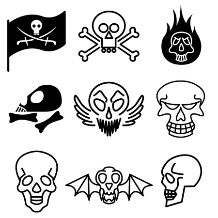 fire skull: skull and hard rock icons vector set