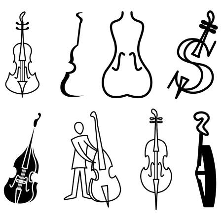 violon, violoncelle et ensemble de vecteurs de basse icônes