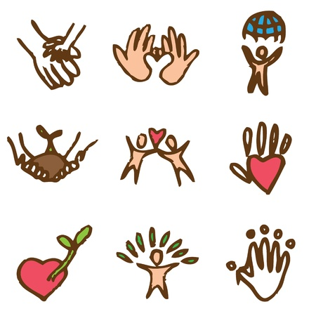 charity hand drawn icons in vector Stock Vector - 16270834