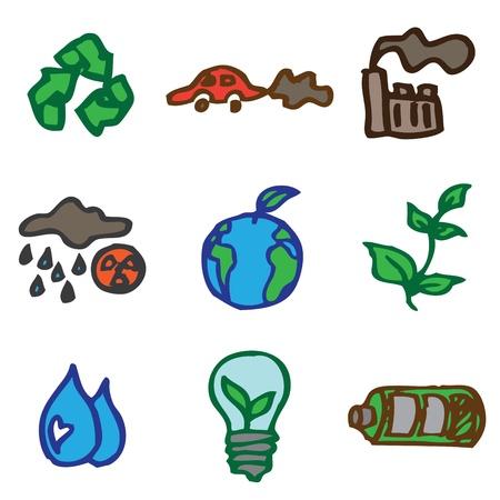 kwaśne deszcze: ekologia, ręcznie rysowane ikony w wektorze