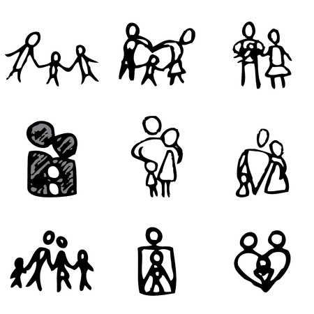 charity collection: family hand drawn icons in vector Illustration