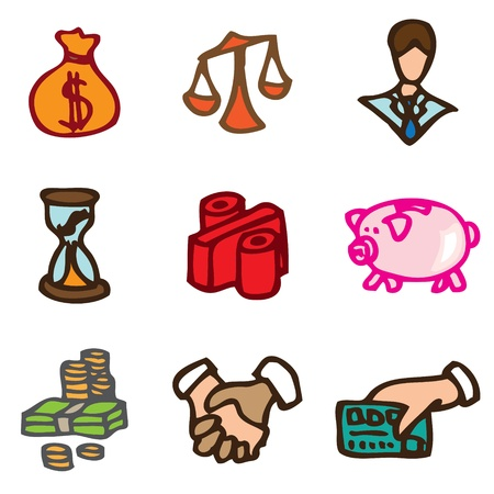 Economy and Finance hand drawn icons in vector Vector