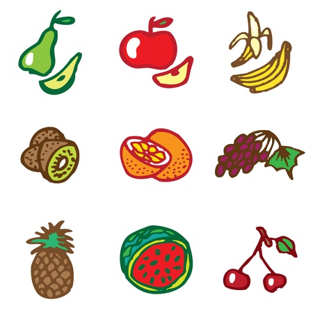 fruits hand drawn icons in vector Stock Vector - 16270863