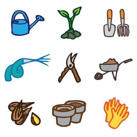 garden hand drawn icons in vector Stock Vector - 16270808