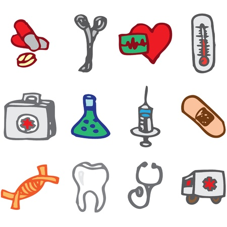 first aid kit: medicine and clinic hand drawn icons in vector