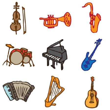 acorde�n: instrumentos musicales iconos dibujados a mano en vector