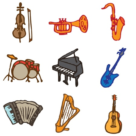 musical instruments hand drawn icons in vector Vector