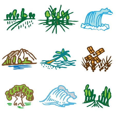 cascade mountains: nature hand drawn icons in vector