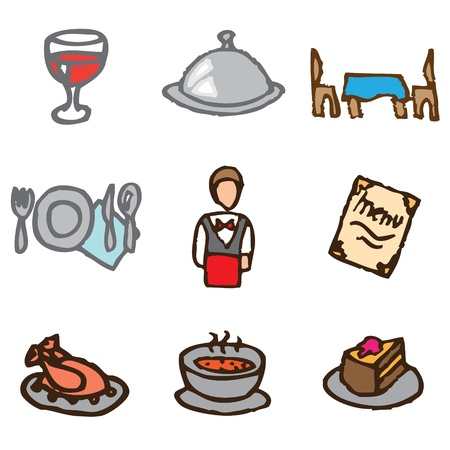 restaurant hand drawn icons in vector Vector