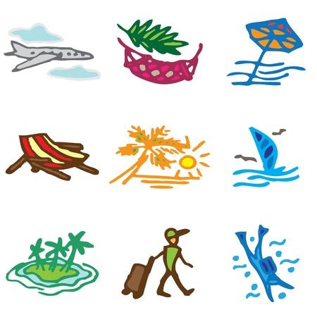 overseas: iconos dibujados a mano en vacaciones vector