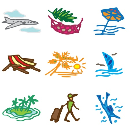 vacation hand drawn icons in vector Vector