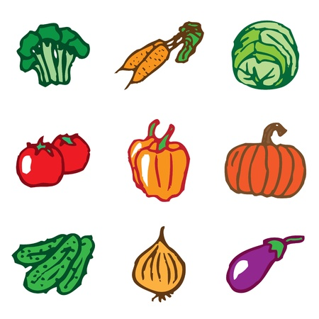 vegetables hand drawn icons in vector Vector