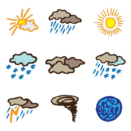 forecaster: weather hand drawn icons in vector