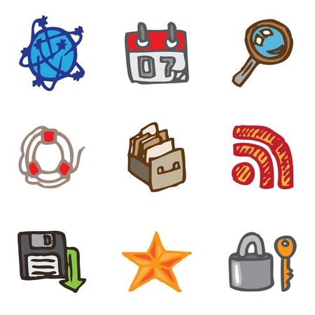 floppy: web site hand drawn icons in vector Illustration