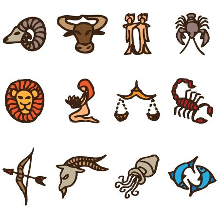 signs of the zodiac hand drawn icons in vector Illustration