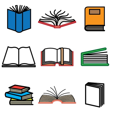 poem: book hand drawn icons in vector Illustration