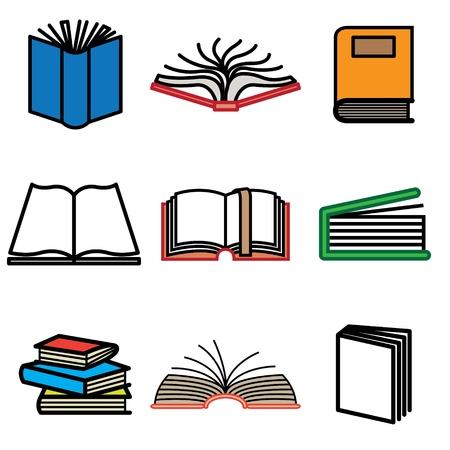 marcadores de libros: iconos de libro dibujados a mano en vector Vectores
