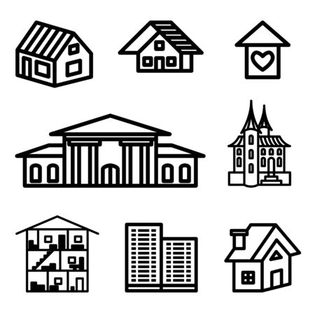 building, real estate hand drawn icons in vector Stock Vector - 16270835