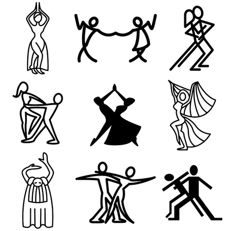 paso doble: dances hand drawn icons in vector