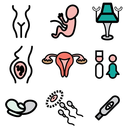 menstruation: gynecology hand drawn icons in vector