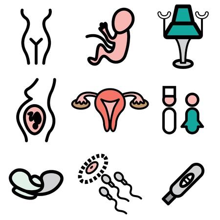 prueba de embarazo: iconos dibujados ginecolog�a mano en vector