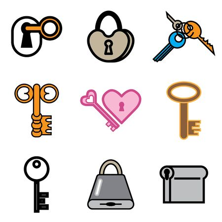 key and lock hand drawn icons in vector Stock Vector - 16270833