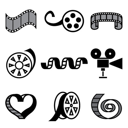 cinematographer: cinema and movie hand drawn icons in vector