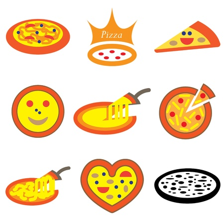fillings: pizza hand drawn icons in vector