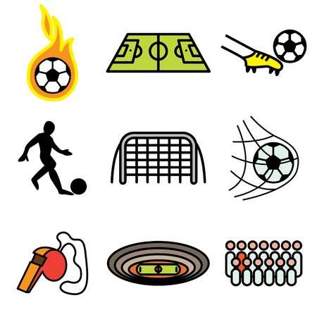 soccer hand drawn icons in vector Vector